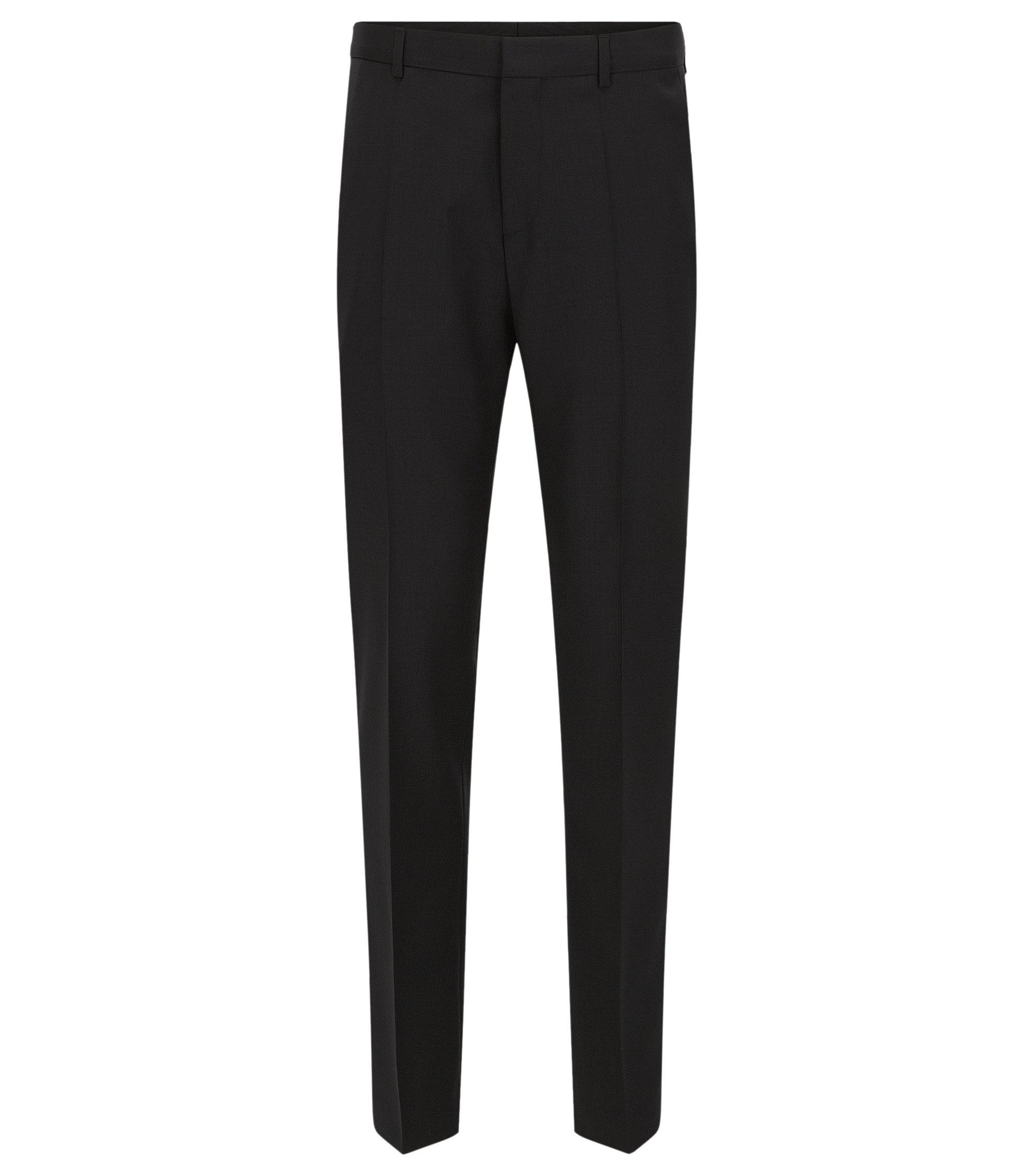 Slim-leg trousers in virgin wool by HUGO Man , Black
