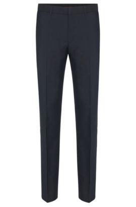 Pantalones de pierna ajustada en lana virgen de HUGO Hombre , Azul oscuro