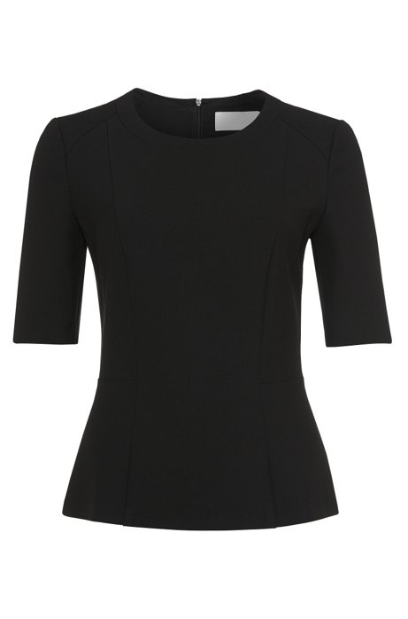 Top in fabric blend with viscose: 'Ipila', Black