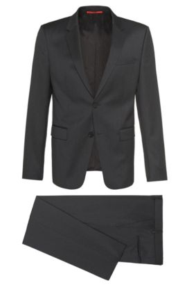 Abito Slim-Fit in lana vergine: 'Aeron2/Hamen2', Grigio antracite