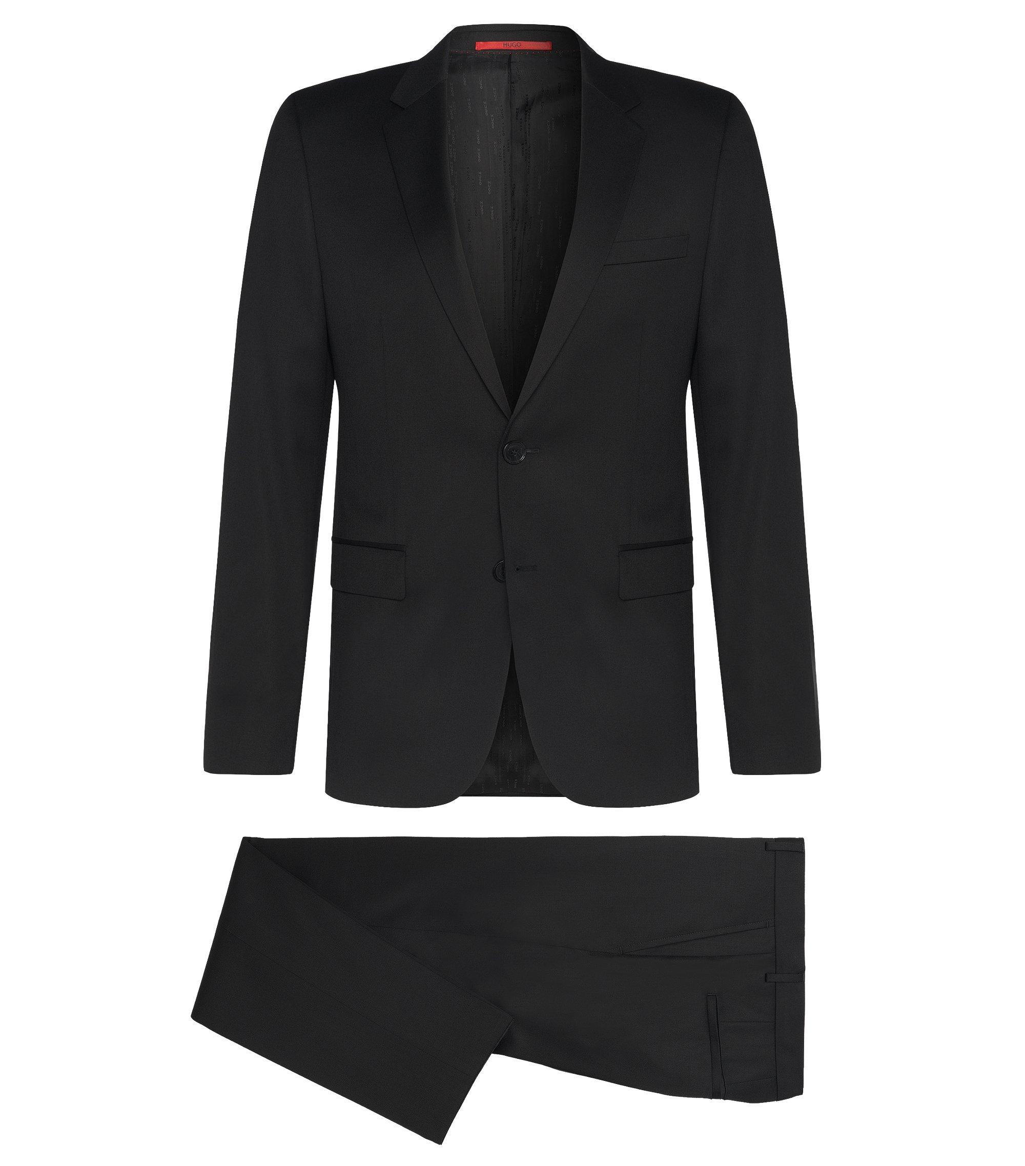 Costume Slim Fit en laine vierge tissée teinte, Noir