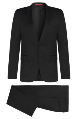 Slim-fit suit in yarn-dyed virgin wool , Black