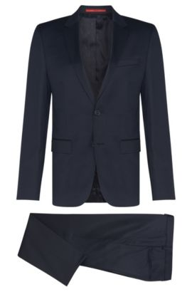 Slim-fit suit in yarn-dyed virgin wool , Dark Blue
