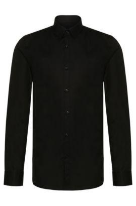 Extra-slim-fit shirt in stretch-cotton poplin , Black