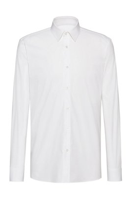 Extra-slim-fit shirt in stretch cotton with seam details, White