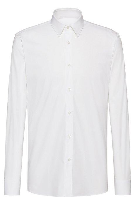 Extra slim-fit overhemd van stretchkatoen met naaddetails, Wit