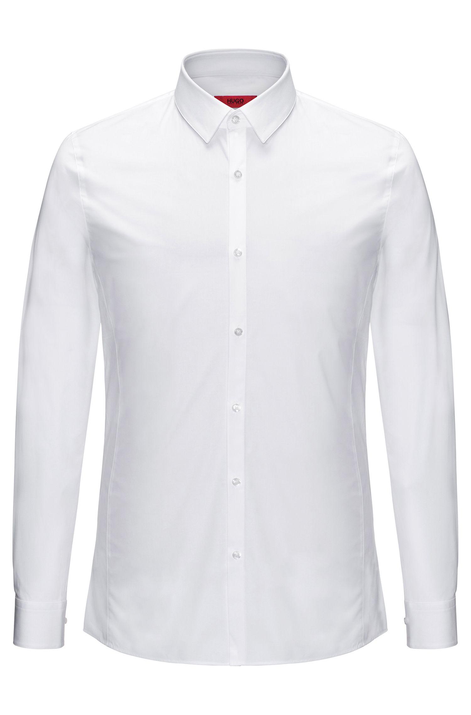 Camicia extra slim fit in popeline di cotone elasticizzato
