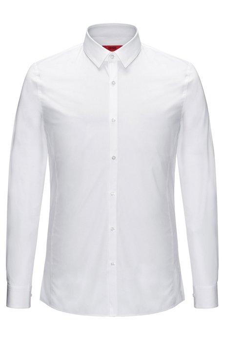 Camisa extra slim fit en popelín de algodón elástico , Blanco