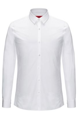 Extra-slim-fit shirt in stretch-cotton poplin , Open White