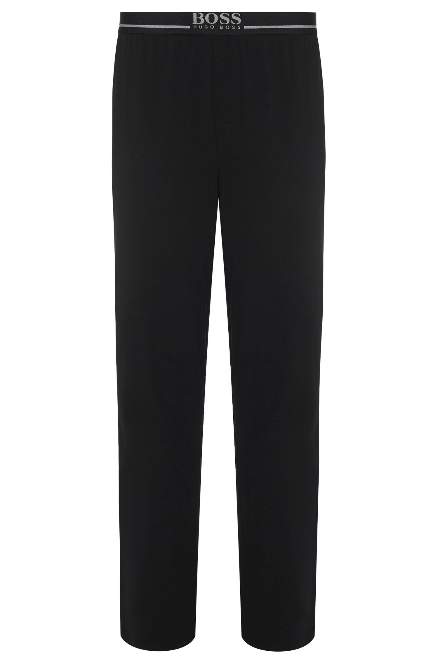 Loungewearbroek van katoenen jersey met stretch, Zwart