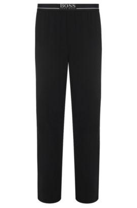 Pantalón loungewear en punto de algodón elástico, Negro