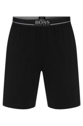 Short d'intérieur en coton stretch, Noir