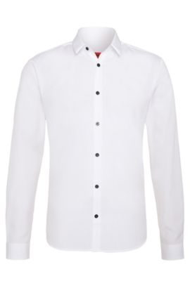 Chemise Slim Fit en pur coton: «Ero3», Blanc
