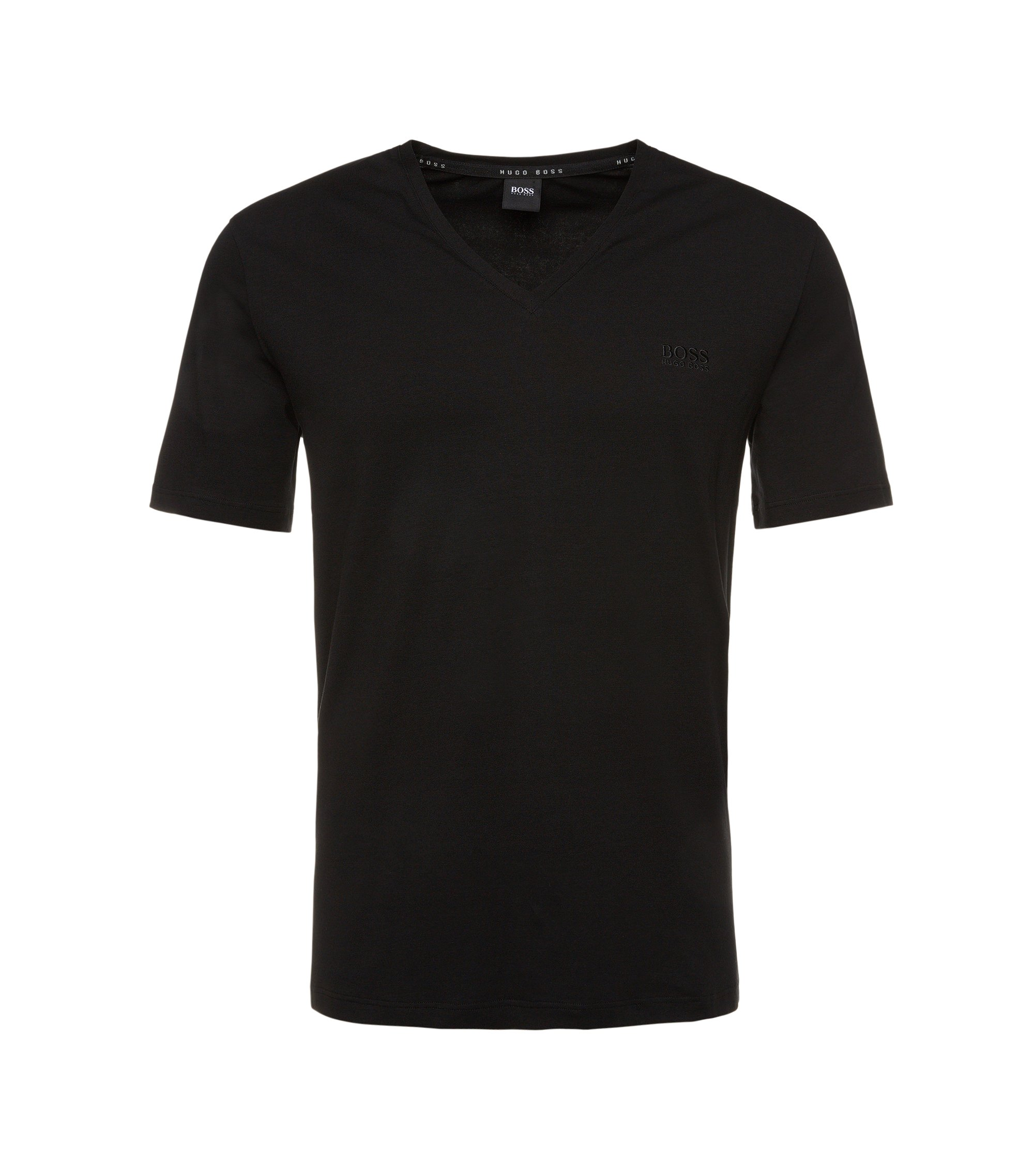 Regular Fit T-Shirt aus elastischem Baumwoll-Mix: 'Shirt VN' , Schwarz