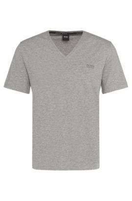 Regular-fit t-shirt in stretch cotton blend: 'Shirt VN' , Grey