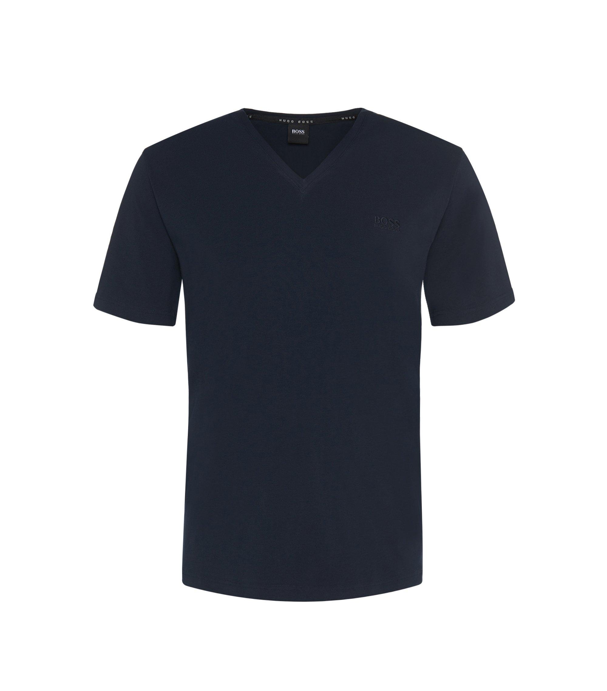 Regular Fit T-Shirt aus elastischem Baumwoll-Mix: 'Shirt VN' , Dunkelblau