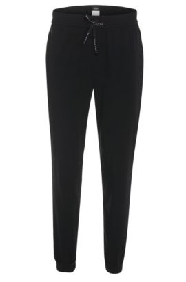 Tracksuit bottoms in cotton blend: 'Long Pant CW Cuffs', Black