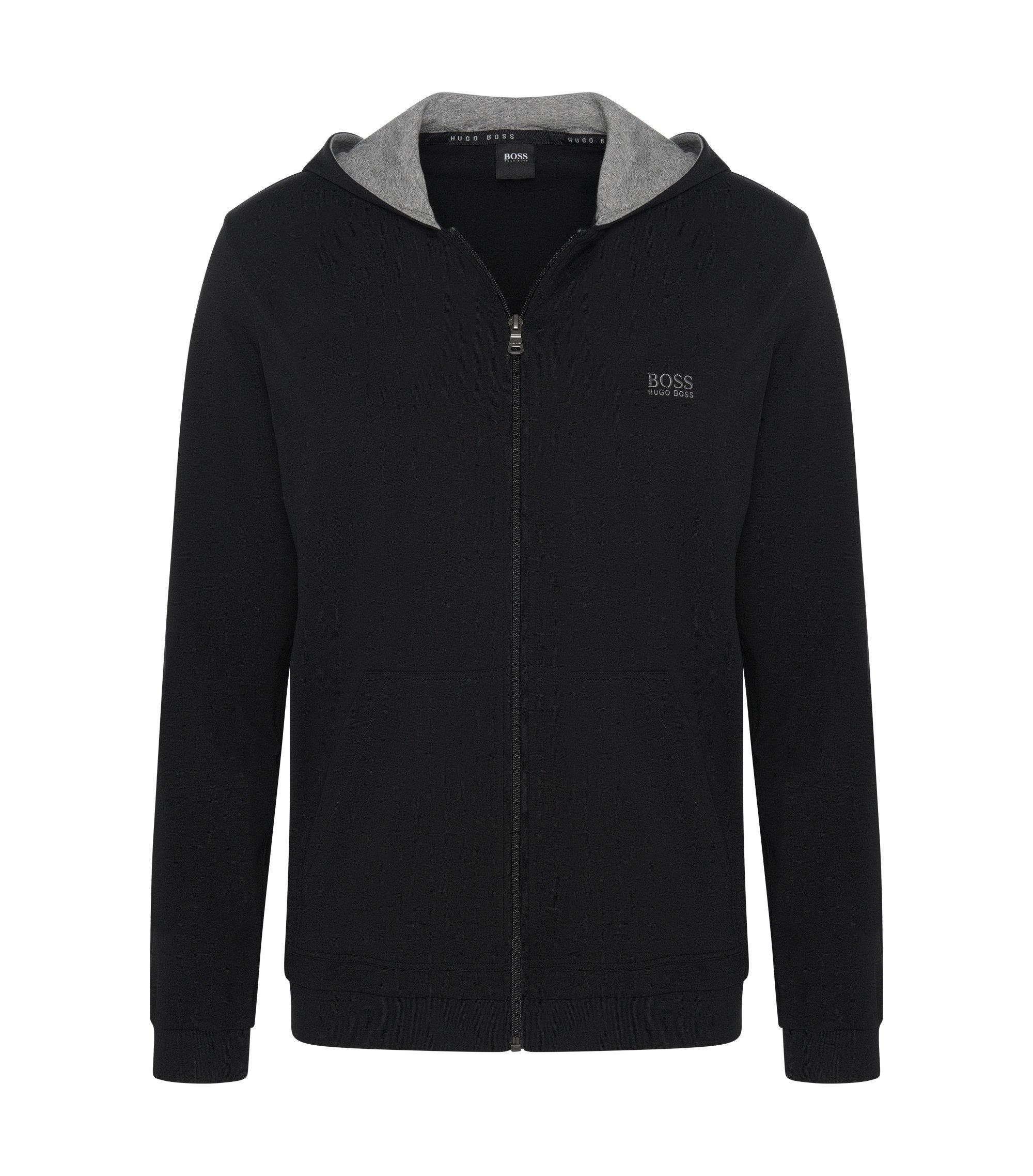 Veste à capuche en jersey de coton stretch, Noir