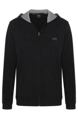 Regular-Fit Kapuzenjacke aus elastischem Baumwoll-Jersey, Schwarz