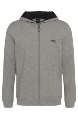 Hooded jacket in stretch-cotton jersey, Grey
