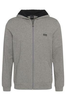 Regular-Fit Kapuzenjacke aus elastischem Baumwoll-Jersey, Grau