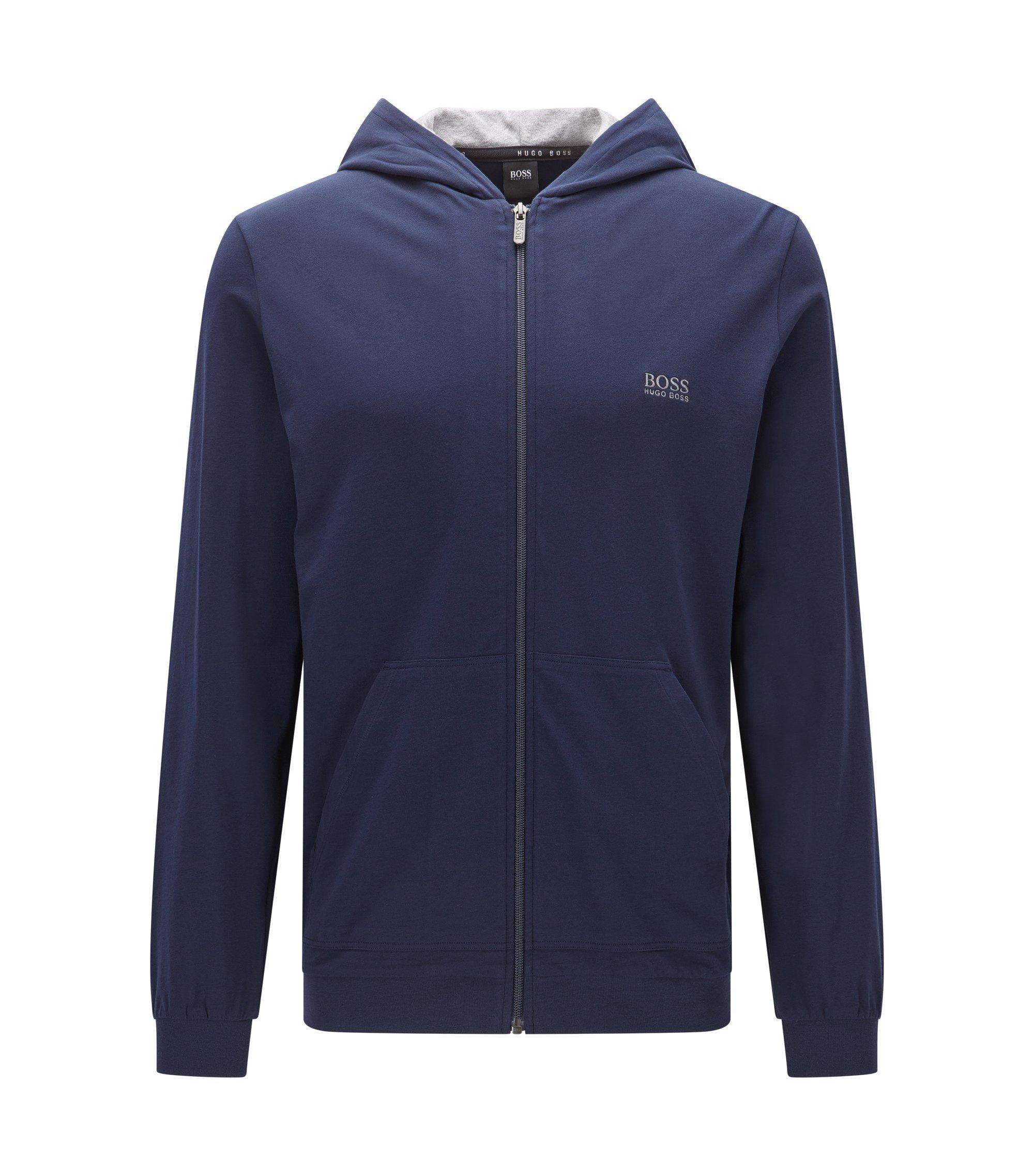 Veste à capuche en jersey de coton stretch, Bleu foncé
