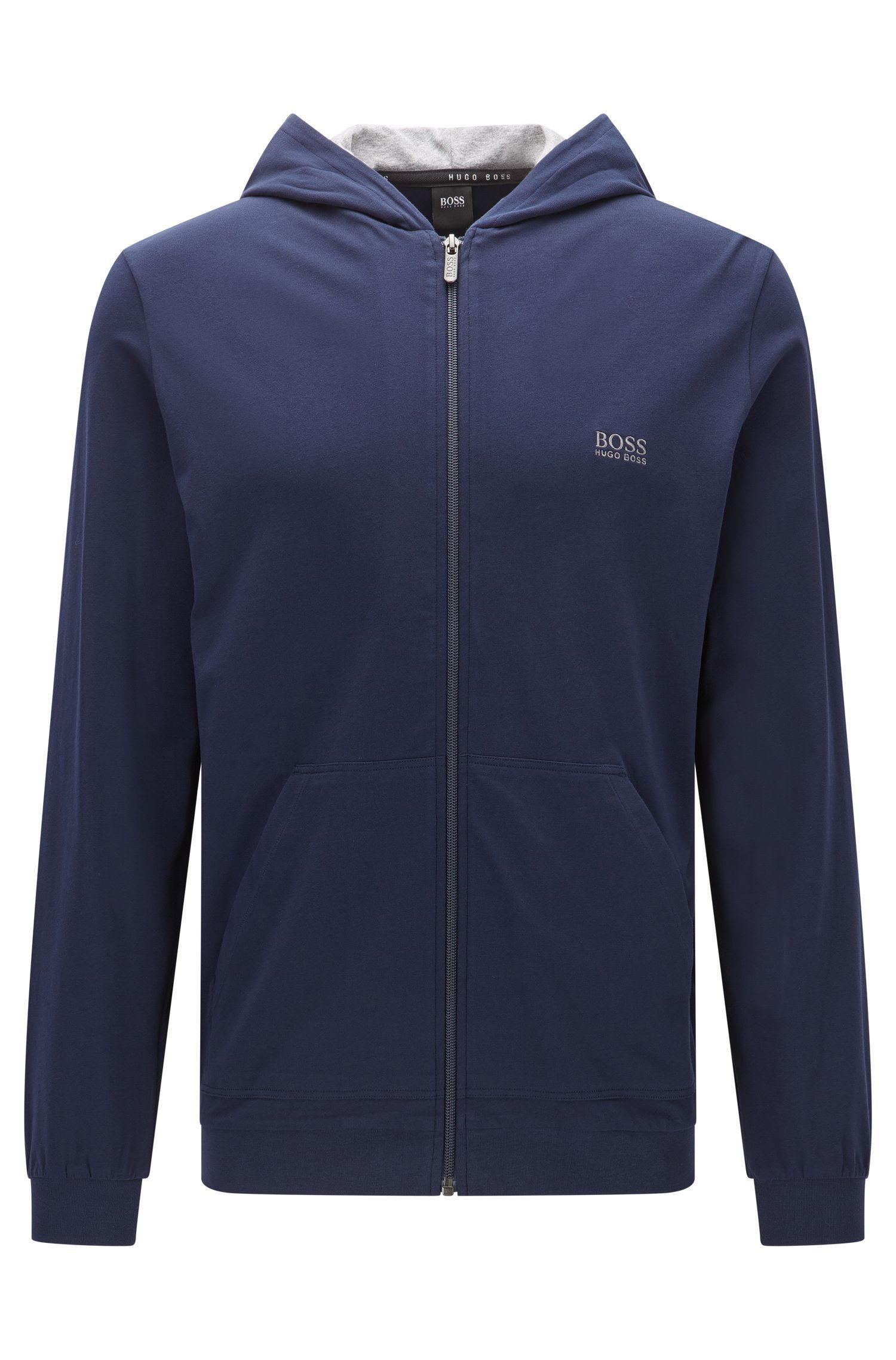 Regular-Fit-Kapuzenjacke aus elastischem Baumwoll-Jersey
