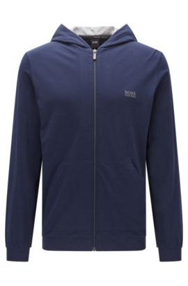 Hooded jacket in stretch-cotton jersey, Dark Blue