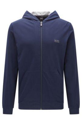 Hooded jacket in stretch-cotton jersey, Dark Blue