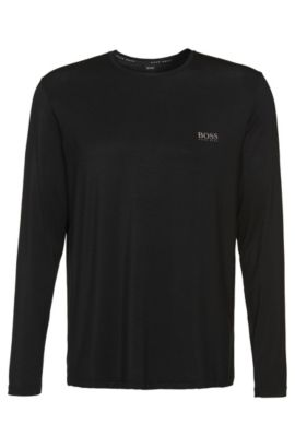 Camiseta de manga larga en mezcla de modal elástico: 'Shirt RN LS', Negro