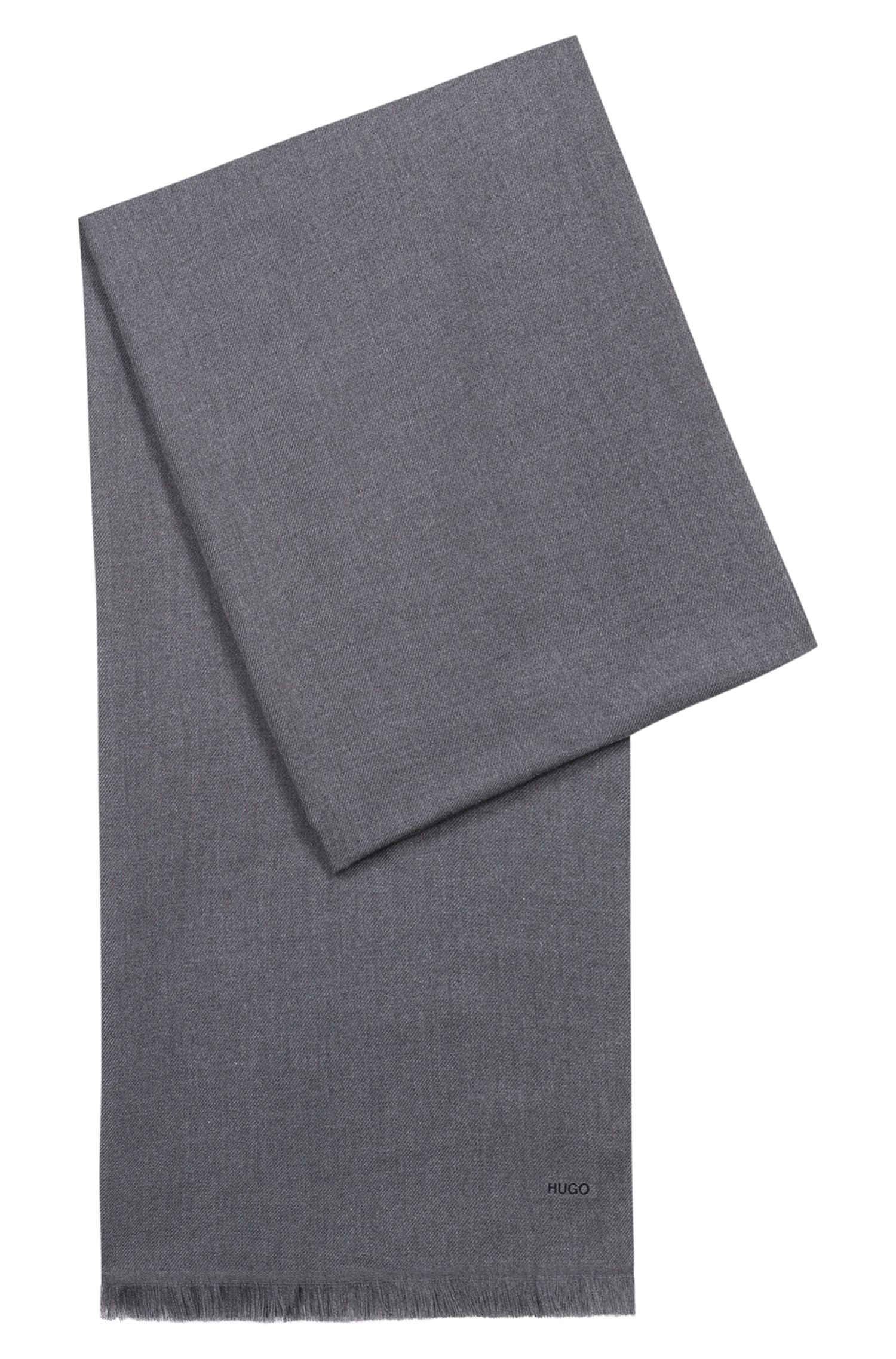 Lightweight scarf in mélange fabric, Dark Grey
