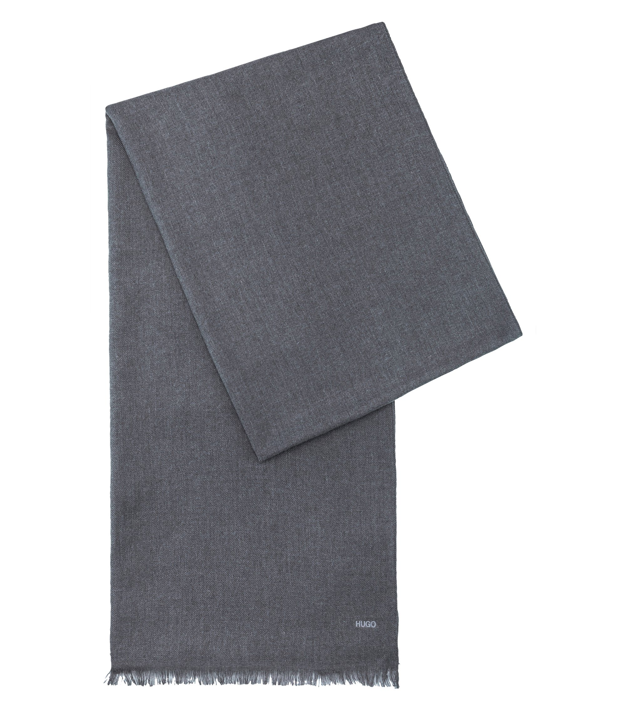 Lightweight scarf in mélange fabric, Dark Grey