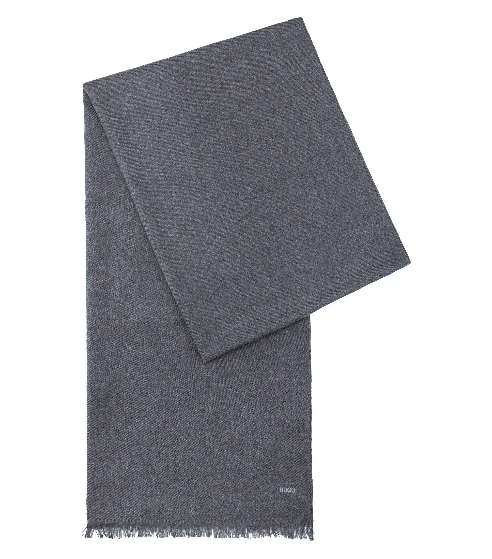 Bufanda ligera en tejido jaspeado, Gris oscuro