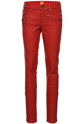 Jeans Slim Fit : « Orange J20 London » avec enduit, Rouge
