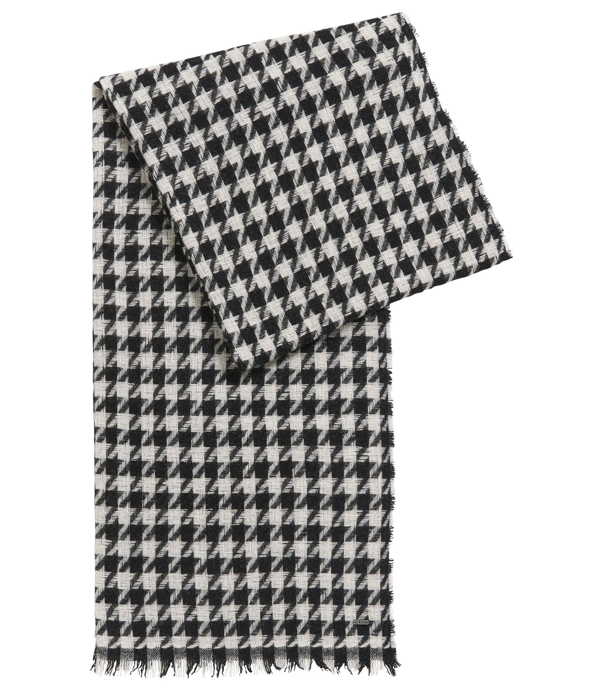 Sjaal van een wolmix met pied-de-poule-dessin, Bedrukt