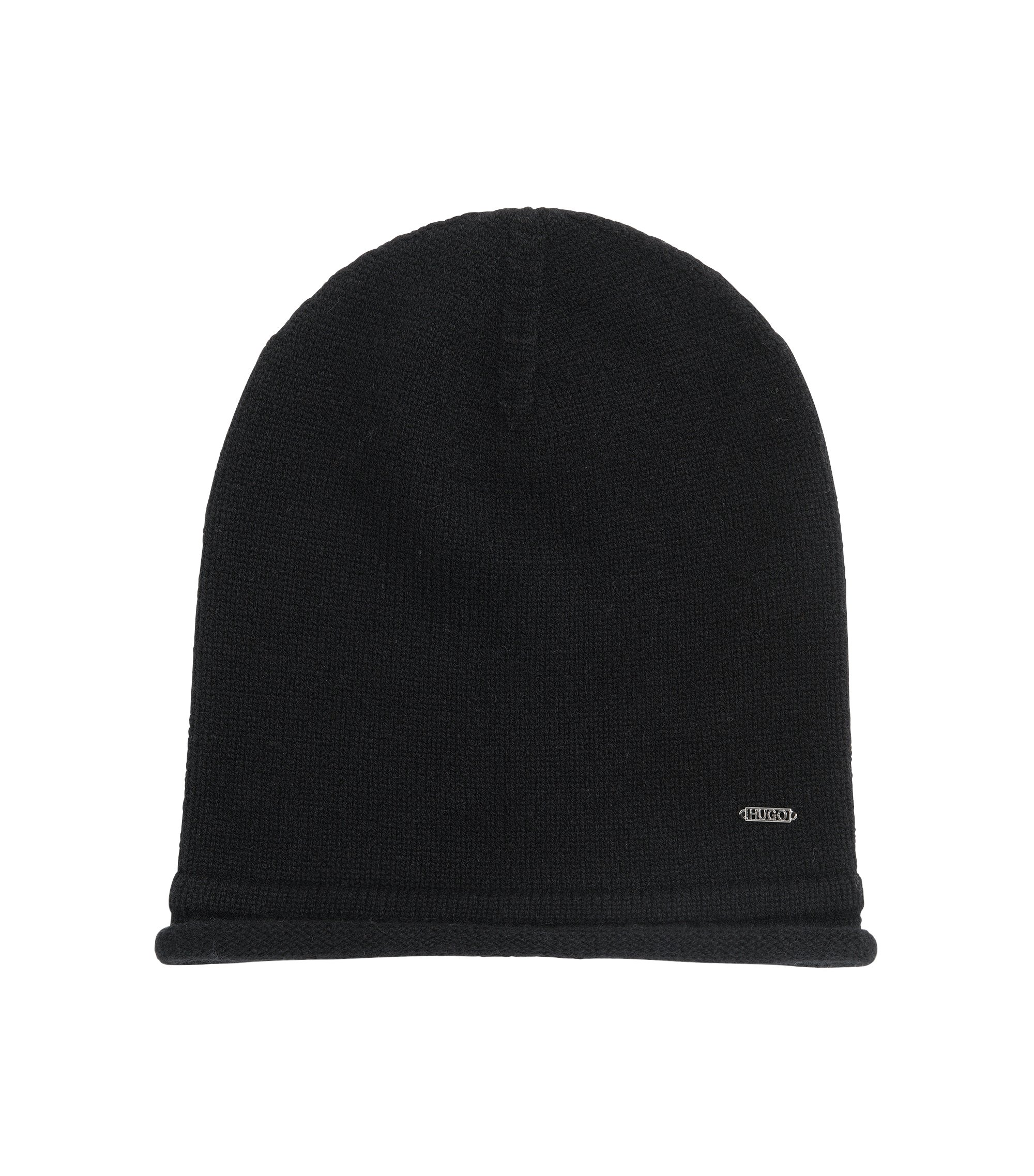 Beanie hat in pure cashmere, Black