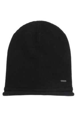 Beanie hat in pure cashmere, Black