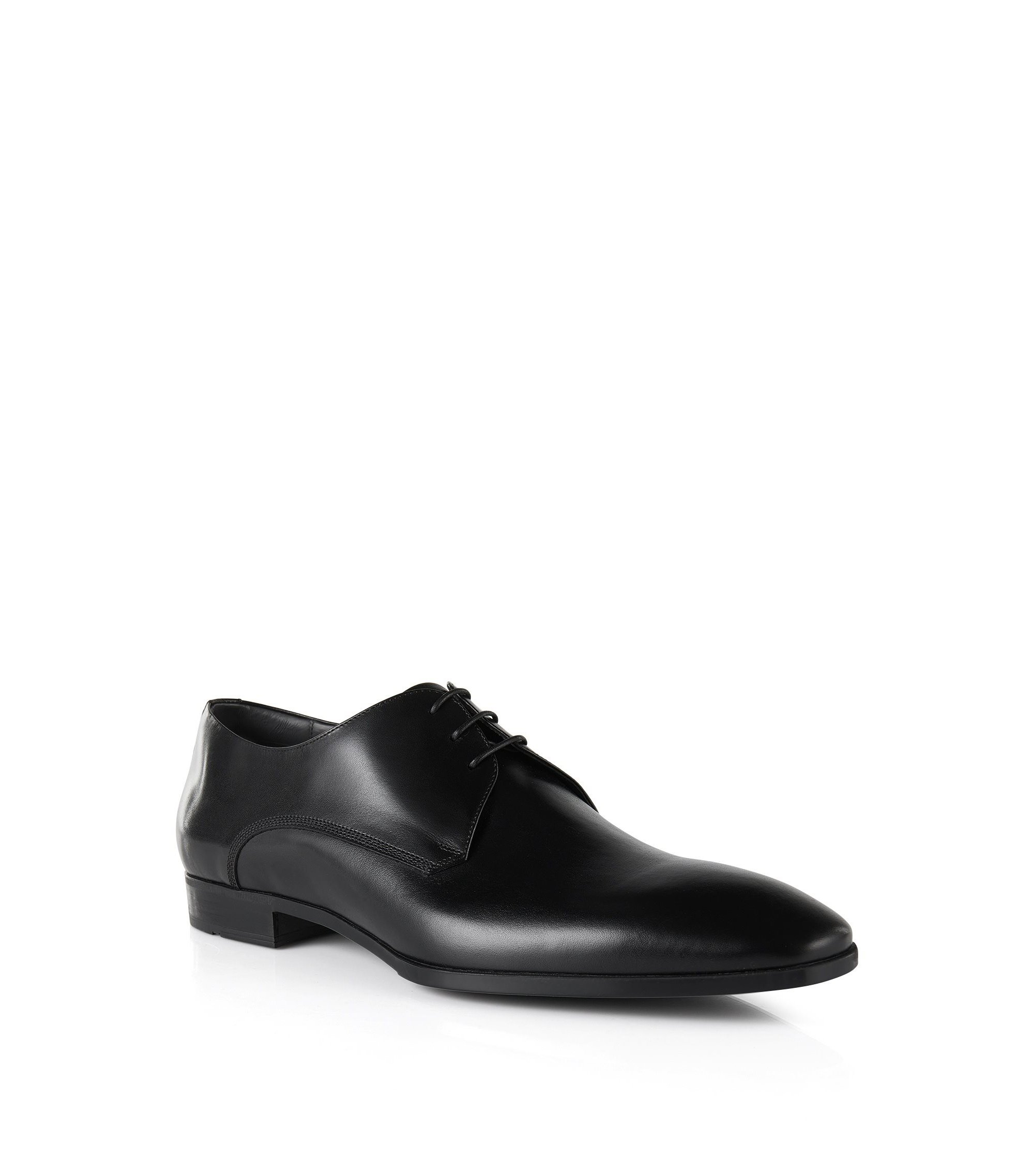 Leather Derby shoes with print detail, Black