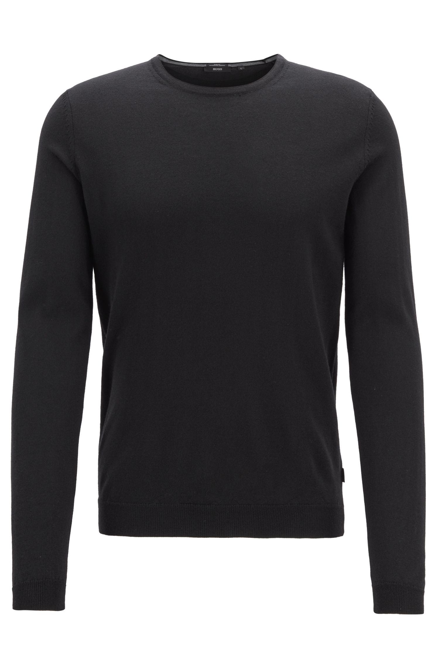 Crew-neck sweater in fine-knit Merino wool, Black