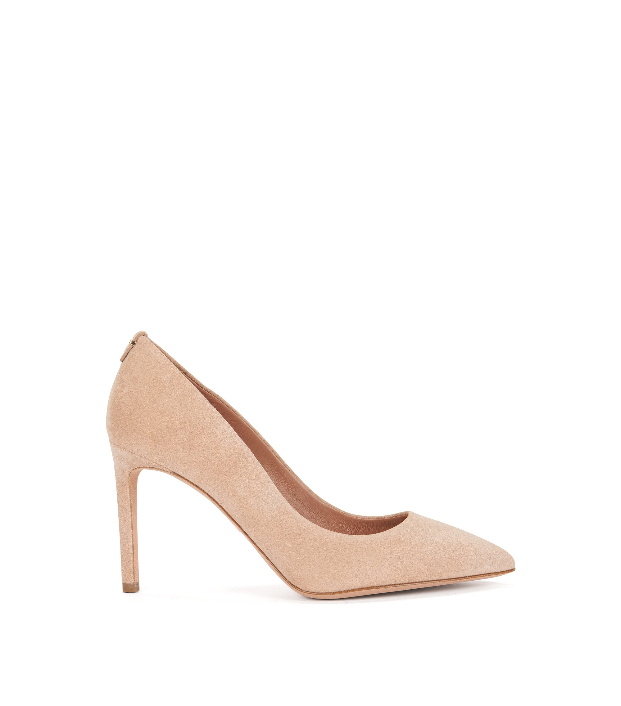 BOSS Luxury Staple pumps in Italian suede, Light Beige