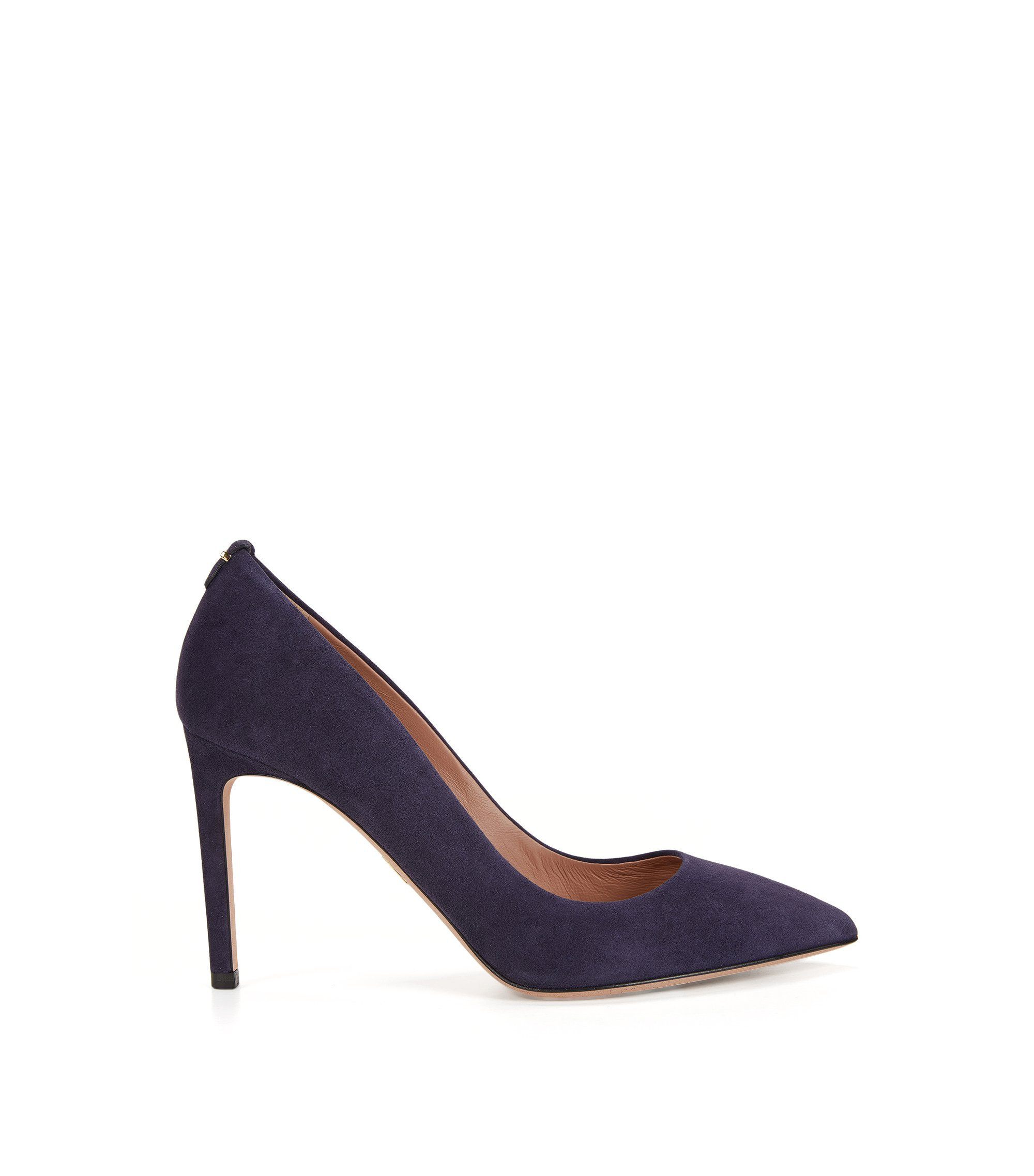 BOSS Luxury Staple pumps in Italian suede, Dark Purple