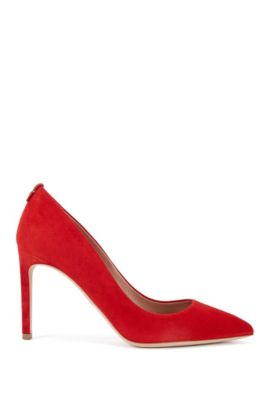 BOSS Luxury Staple pumps in Italian suede, Red