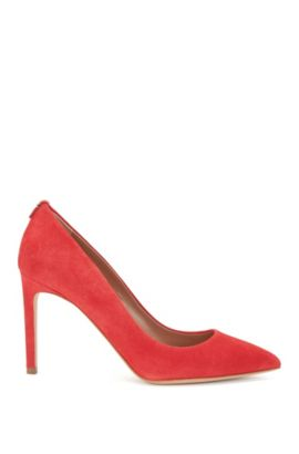 BOSS Luxury Staple Pumps aus italienischem Veloursleder, Pink