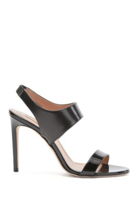 Sandalias de BOSS Luxury Staple en lujosa piel italiana , Negro