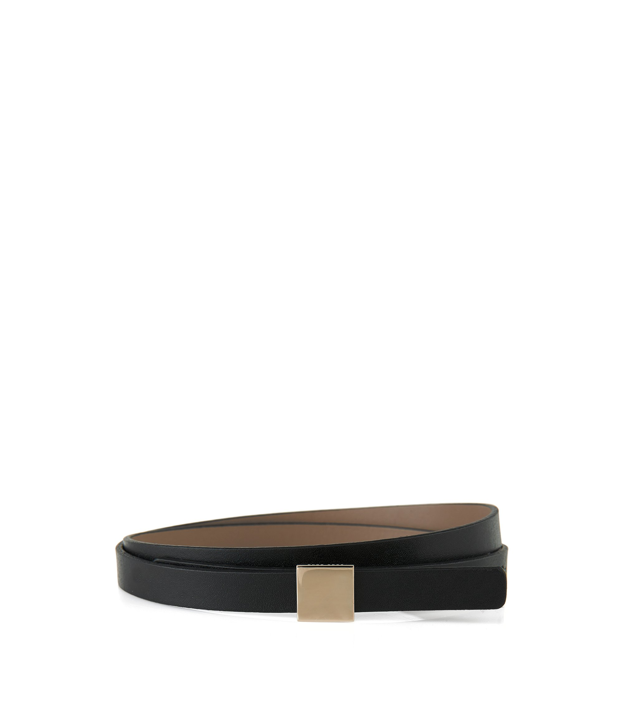Leather belt with block hardware closure, Black