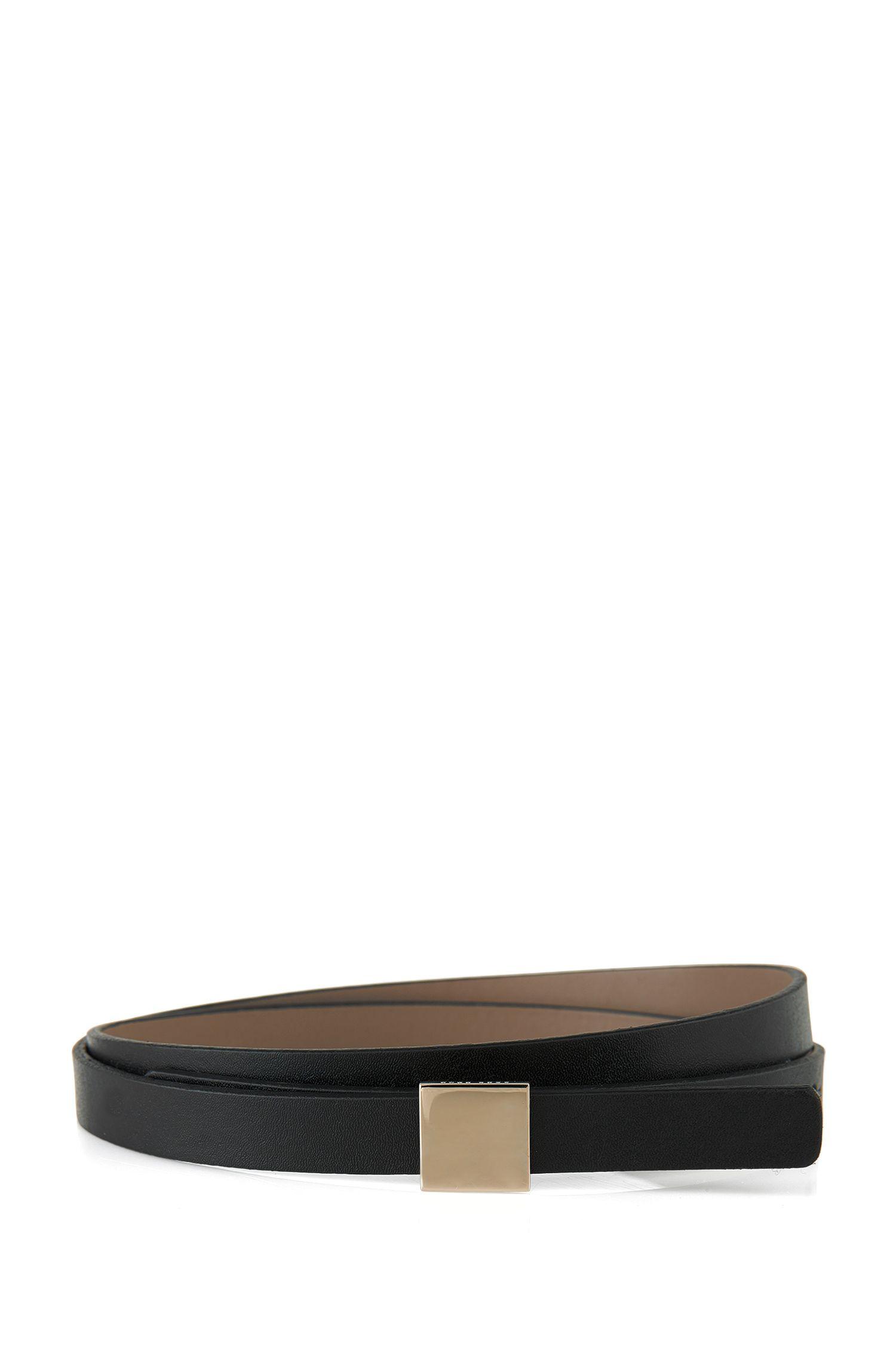 Leather belt with block hardware closure