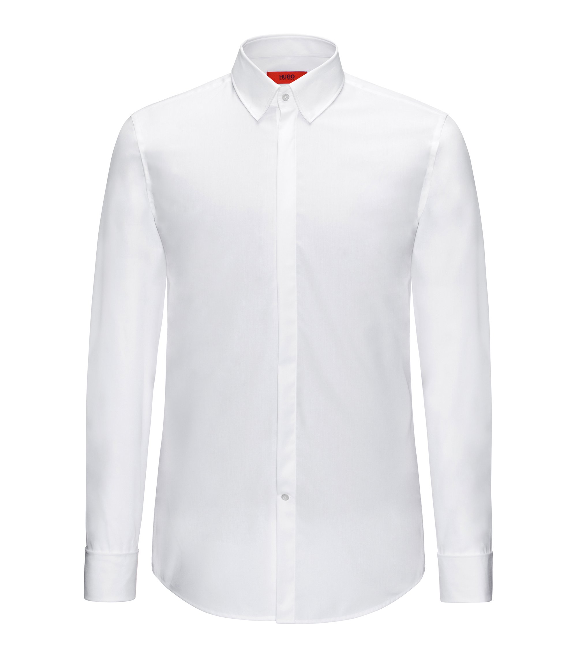 Slim-fit shirt in cotton with turn-back cuffs: 'C-Ilias', White