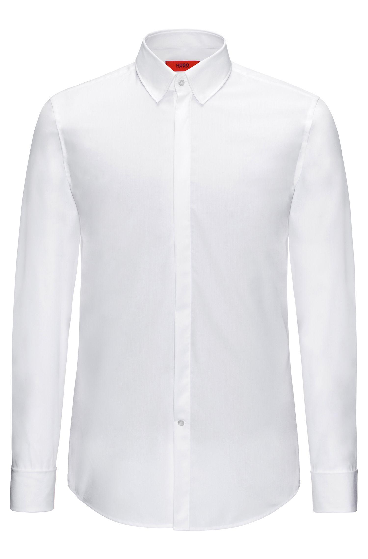 Chemise Slim Fit en coton à poignets mousquetaires: «C-Ilias»