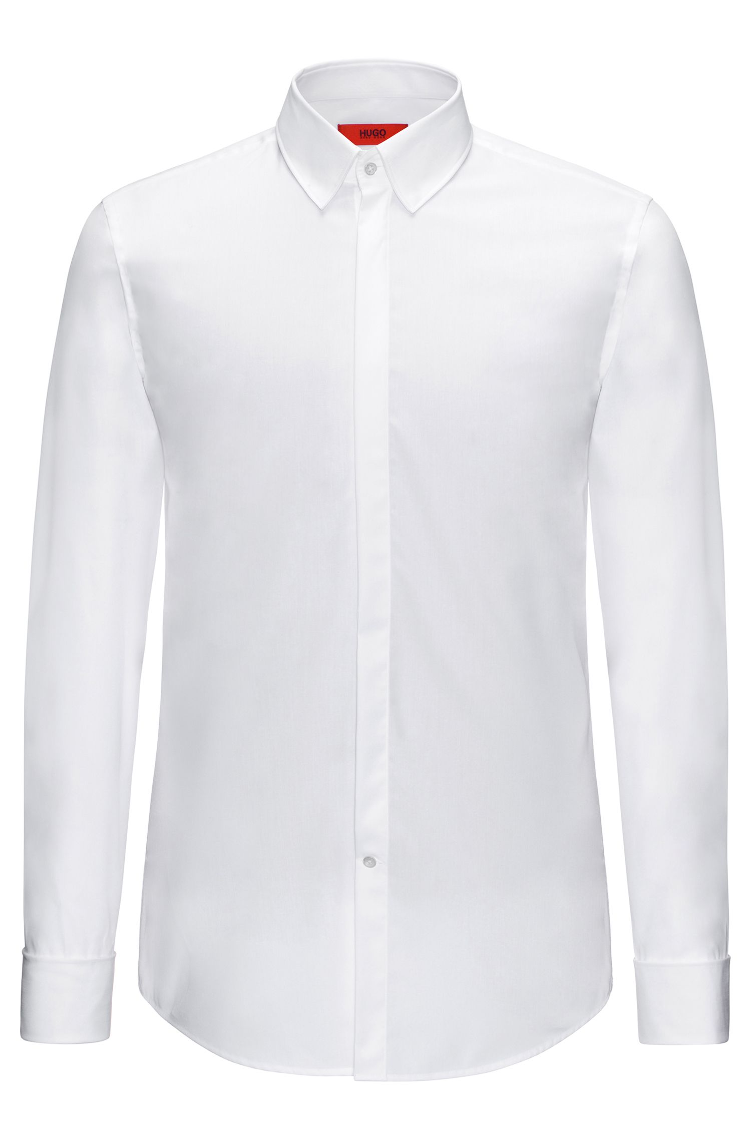 Slim-fit shirt in cotton with turn-back cuffs: 'C-Ilias'