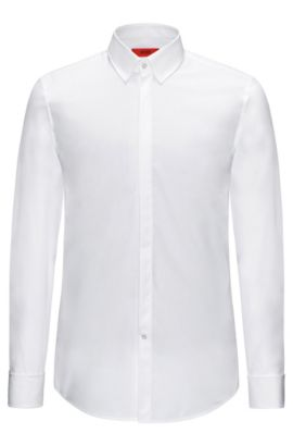 Slim-fit shirt in cotton with turn-back cuffs: 'C-Ilias', Open White